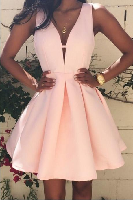 Pink Short Prom Dress,V Neck Cocktail Dress,Satin Homecoming Dress