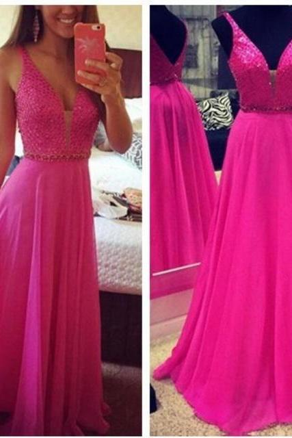 V Neck A Line Rose Red Crystal Evening Dresses Formal Long Chiffon Prom Dress