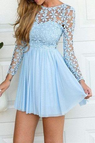 Charming Prom Dress,Long Sleeve Short Prom Dress,Lace Homecoming Dress