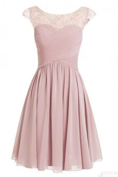 Pink Short Chiffon Pleated Skirt Featuring Ruched Sweetheart Bodice and Sheer Bateau Neckline and Cap Sleeve