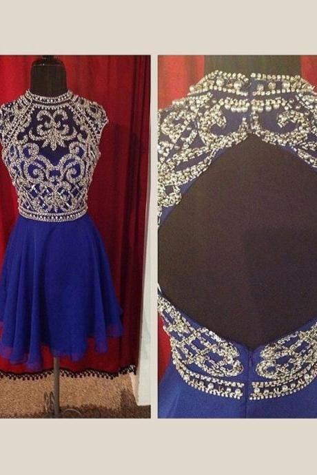 Charming Blue Homecoming Dress,Backless Graduation Dress,Short Prom Dress,Beading Prom Gown