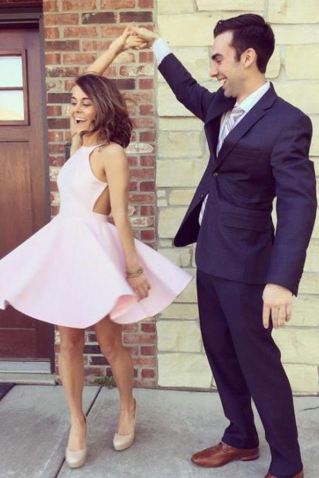 Charming Pink Prom Dress,Sexy Prom Gown,Backless Party Dress,Short Prom Dress