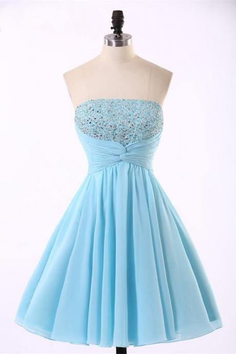 Strapless Homecoming Dress,Light Blue Homecoming Dresses,Beaded Prom Dress