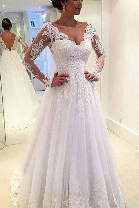 Charming Wedding Dress,White Wedding Dresses,Lace Wedding Gown