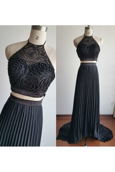 Two Piece Prom Dress,Beading Prom Dress,Long Evening Dress,Formal Dress