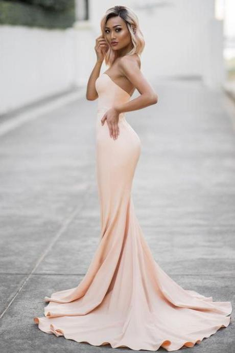 Charming Mermid Prom Dresses,Champagne Backless Prom Dress,Long Evening Dress,Formal Dress