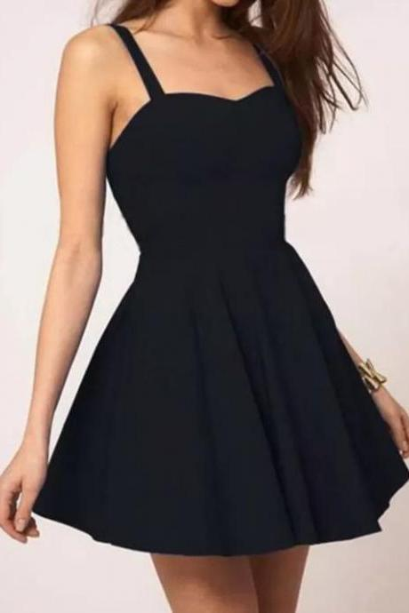 Black Spaghetti Strap Sweetheart Short Prom Dress, Homecoming Dress, Party Dress