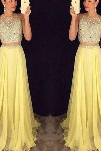 Sexy Prom Dress,Two Piece Prom Dress,Yellow Chiffon Beaded Prom Dress,Long Evening Dress