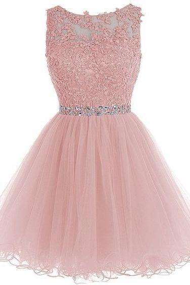 New Arrival Pink Homecoming Dress,Tulle Homecoming Dresses with Lace Appliques,Short Prom Dress,Prom Gown