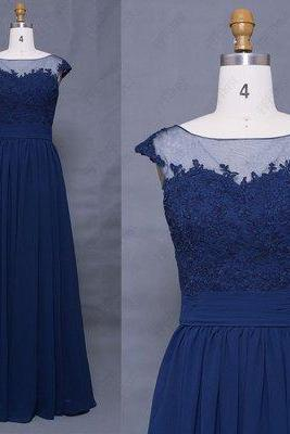 Charming Prom Dress,Blue Chiffon Prom Dress with Lace,Floor Length Evening Dress,Formal Evening Dress