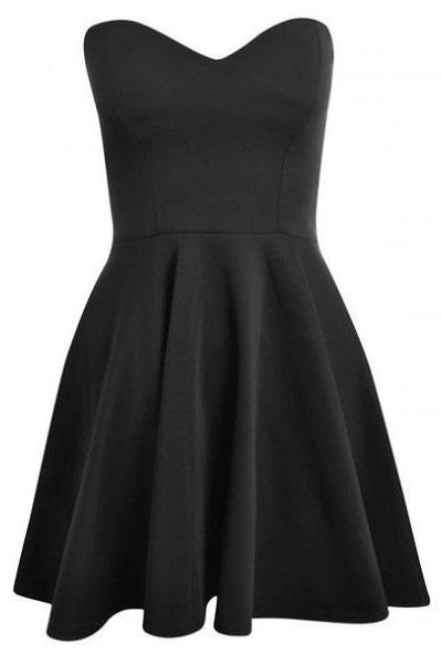 Custom Made Black Sweetheart Neckline Knee Length Homecoming Dress, Graduation Dress