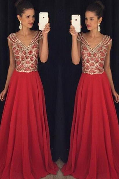 Charming Prom Dress,Long Prom Dress,Sexy Prom Dress,Chiffon Prom Dress,Red Prom Dress