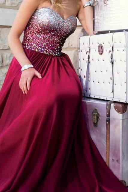 Charming Prom Dress,Long Prom Dress,Sexy Prom Dress,Beading and Crystal Evening Dress,Backless Prom Dress