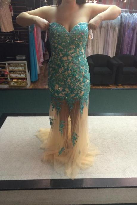 Delicate Lace Appliques Beadings Mermaid Prom Dress \Sexy Sleeveless Evening Gown Party Dresses