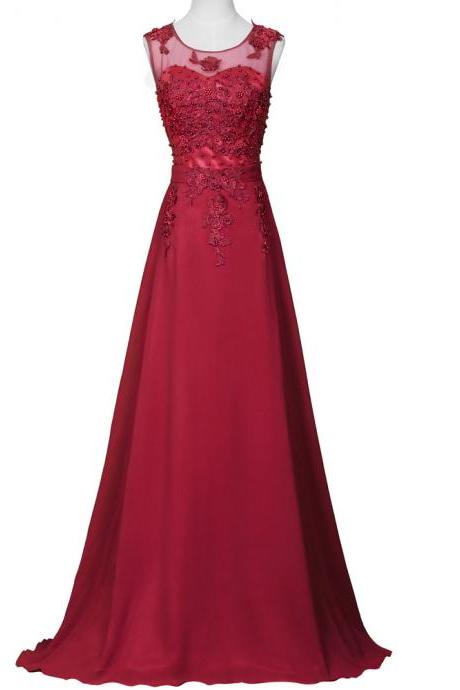 Charming Prom Dress,Red Prom Dresses,Appliques Evening Dress,Long Formal Dress
