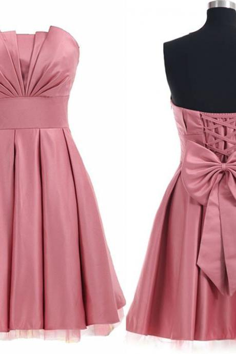 Strapless Ruched Short Homecoming Dress Featuring Lace-Up Back and Bow Accent