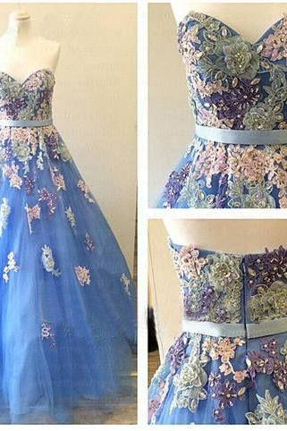 A Line Prom Dresses,Long Prom Dress,Formal Evening Dress,Appliques Backless Evening Dress