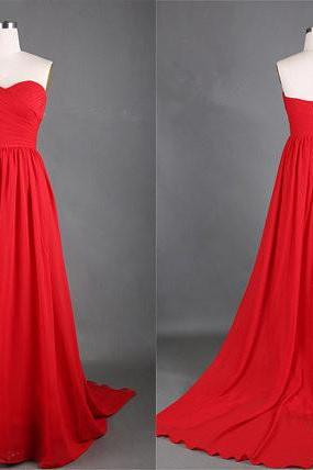 Chiffon Red Prom Dress,Sexy Prom Dresses,Sleeveless Evening Dress,Formal Dress,Women Dress