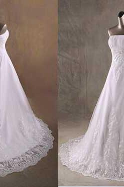 Lace Strapless Straight-Across Floor Length Wedding Gown Featuring Lace-Up Back and Train