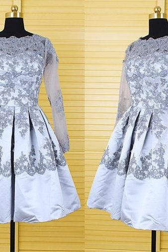Charming Prom Dress,Sexy Prom Dress,Elegant Prom Gown,Full Sleeve Lace Appliques Homecoming Dress