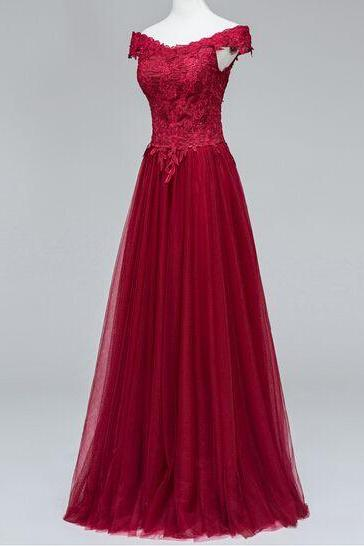 Charming Prom Dress,Elegant Tulle Prom Dresses,Appliques Prom Dress,Floor Length Evening Dress
