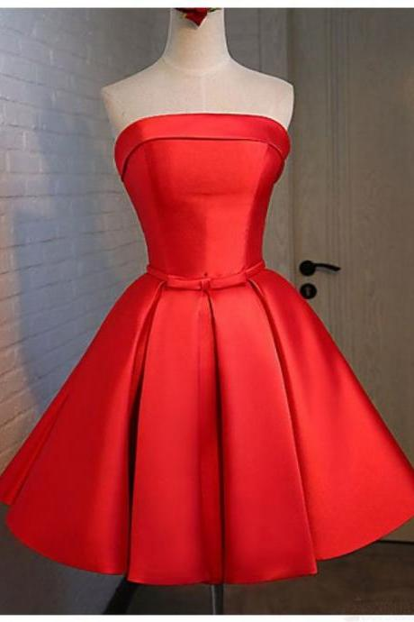 Strapless Prom Dress,Red Prom Dress,Short Homecoming Dress,Lace up Homecoming Dresses,Elegant Short Dress for Prom