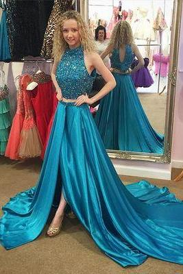 New Arrival Beaded Two Piece Prom Dress,Sexy Prom Dresses,Long Prom Dress,Elegant Floor-Length Evening Dress,Formal Dress