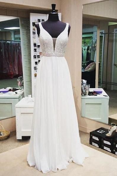 Sexy Prom Dress,White Prom Dress,Long Prom Dress,V Neck Prom Party Dress,Long Formal Evening Gown