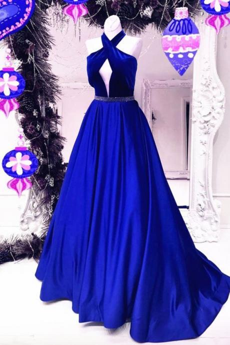 New Arrival Sexy Prom Dress,A Line Prom Dress,Long Evening Dress,Formal Evening Dresses,Royal Blue Open Backless