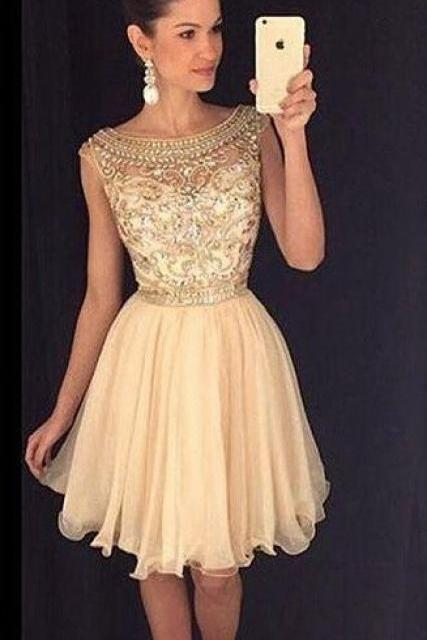 Charming Prom Dress,Sexy Prom Dress,Tulle Prom Dress,Short Prom Gown,Elegant Champagne Homecoming Dress