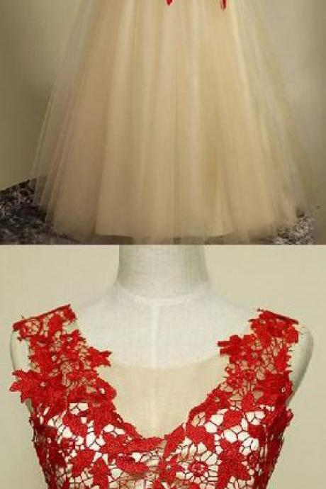 Charming Prom Dress,Elegnat Tulle Mermaid Prom Dress with Red Lace, Pretty Evening Dress,Long Evening Dresses,Mermaid Evening Dress