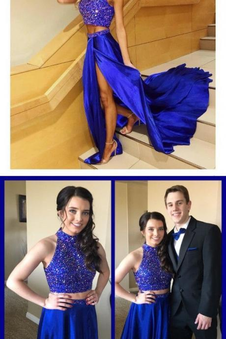 Charming Prom Dress,Sexy Prom Dress,Royal Blue Two Piece Prom Dress,Short Prom Gown,High Slit Evening Dress