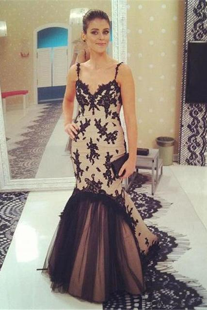 Sexy Prom Dress,Mermaid Evening Dress,Elegant Prom Dress,Sleeveless Spagnetti Strap Mermaid Prom Dresses