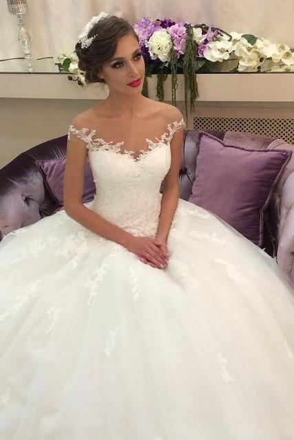 Tulle Wedding Dress,White Wedding Dress,Ball Gown Bridal Dresses,Appliques Wedding Gowns