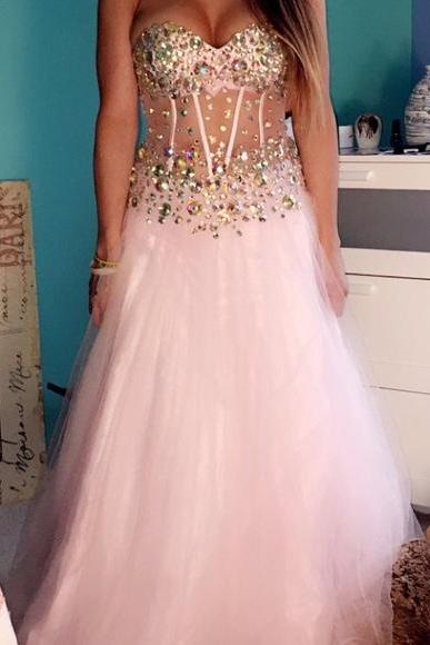 Tulle Crystal Beaded Prom Dress,Long Prom Dresses,Open Back Evening Dress