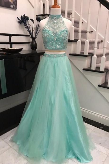 Sexy Prom Dress,Sleeveless Prom Dress,Two Piece Prom Dresses,Beaded Homecoming Dress,Evening Party Dress
