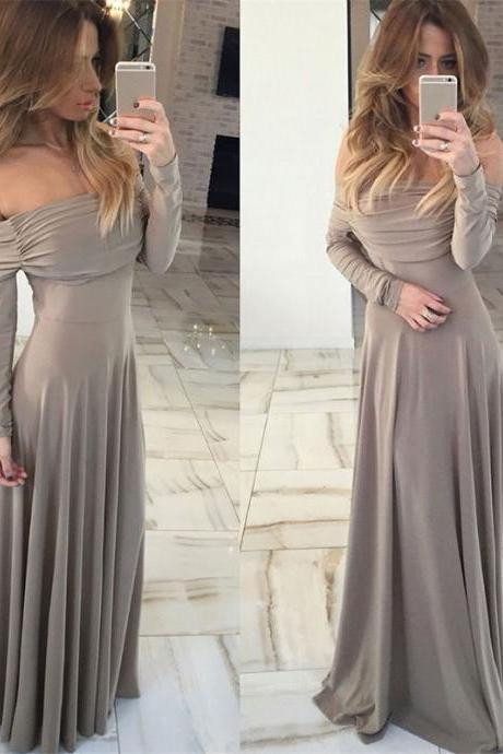 Sexy Prom Dress,Full Sleeve Prom Dress,A Line Evening Dress,Formal Dress,Chiffon Prom Dresses