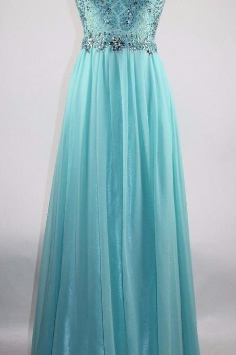 Sexy Prom Dress,Blue Prom Dress,Open Back Beaded Evening Dress,Long Formal Dress,Evening Party Dresses