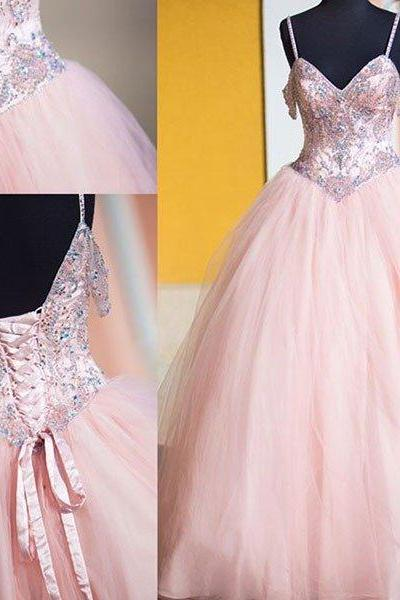 Sexy Prom Dress,Sleeveless Prom Dress,Ball Gown Prom Dresses Evening Dress, Tulle Pink Long Prom Dresses,Pink Quinceanera Dresses