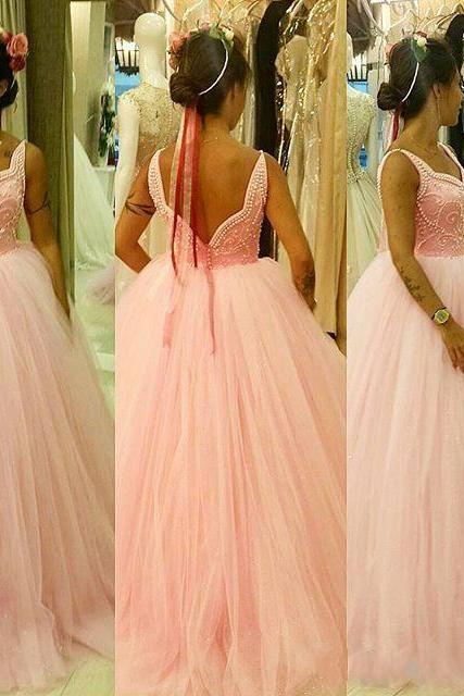 Sexy Prom Dress,Sleeveless Tulle Prom Dress,Ball Gown Prom Dresses,Formal Dresses