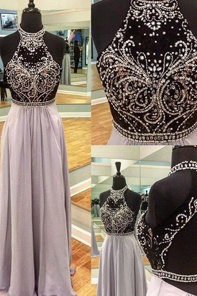 Prom Dress,Prom Gown,Sleeveless Prom Dress,Beaded Prom Dress,Prom Party Dress,Open Back Evening Dress