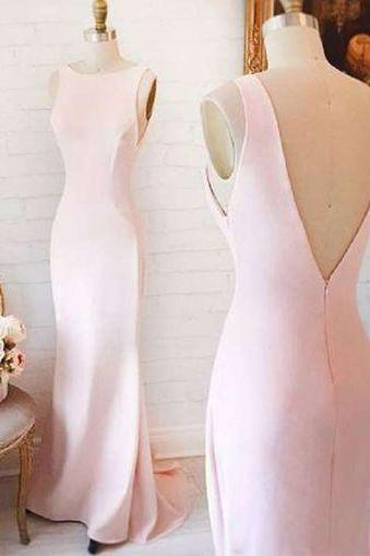 Prom Dress,Pink Mermaid Prom Dresses,Sleeveless Prom Dress, Simple Prom Party Dress,Open Back Evening Dress