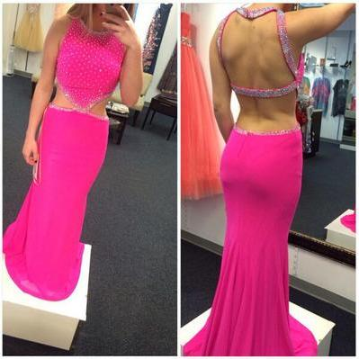 Rose Red Prom Dress,Round Neck Open Back Beaded Long Prom Dress,Chiffon Prom Dress,Floor Length Prom Dress,Open Back Prom Gown,Sexy Party Dress