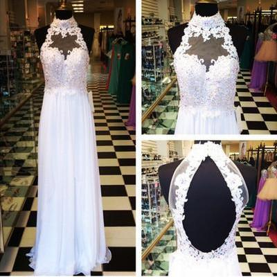 High Neck Halter Hollow Back Beaded Top Long Chiffon Prom Dress,White Appliques Prom Dress,Long Evening Dress