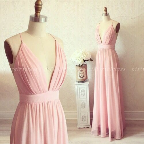 Charming Prom Dresses,Pink Chiffon Prom Dress,Floor Length Prom Dress,Long Evening Dress,Formal Dress