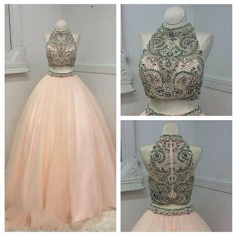 Two Piece Prom Dress,Long Prom Dresses,Evening Formal Dress,Crystal Beaded Evening Dress