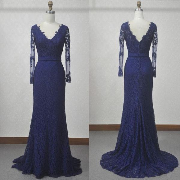 Charming Evening Dress,Elegant Long Sleeve Prom Dress,Lace Formal Evening Dress,Women Dress